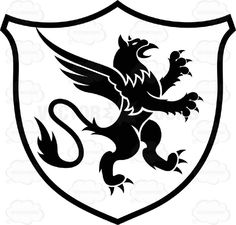 Black And White Rearing Gryphon Coat Of Arms Inside Geometric ...