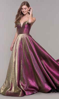 Shop v-neck long iridescent ASHLEYlauren prom dresses at PromGirl. Open-back prom dresses in metallic brocade, a-line dresses for prom, and v-neck prom dresses with pockets and spaghetti straps. Metallic Prom Dresses, Pretty Prom Dresses, V Neck Prom Dresses, Gala Dresses, Beautiful Dresses, Formal Dresses, Long Dresses, Wedding Dresses, Shrug For Dresses