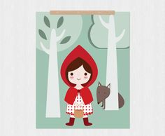 Items similar to Little red riding hood printable - PDF DIY wall art inch on Etsy Wolf, Girl Bedroom Designs, Fairytale Art, Illustration, Red Riding Hood, Diy Wall Art, Little Red, Clay Art, Fairy Tales
