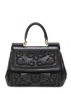 Handbag nera decorata in rilievo Dolce  Gabbana