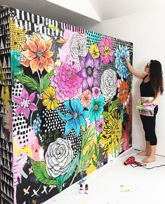 I've been busy preparing for my Petals and Paint Art Retreat in October and part of the process is painting a new mural in the studio. It's one of my traditions to paint a different mural for my each