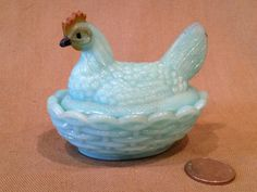 Vintage Vallery Stahl Blue Milk Glass Hen by TrashAngelTreasures, $18.00
