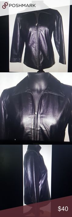 Gap black leather jacket size small Gap black leather motorcycle jacket Zip down Lined Size small Bust- 18.5 inches  Length- 25.5 inches  Sleeve length- 24 inches GAP Jackets & Coats