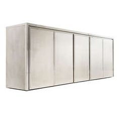 Brushed Steel Credenza | From a unique collection of antique and modern sideboards at https://www.1stdibs.com/furniture/storage-case-pieces/sideboards/