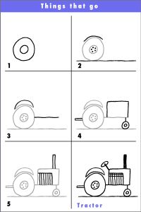 Draw a tractor! - Try this fun tractor and why not put a funny character driving it? A salute to our hard working far - Drawing Lessons For Kids, Art Drawings For Kids, Cartoon Drawings, Easy Drawings, Art Lessons, Art For Kids, Directed Drawing, Doodles, Kindergarten Art