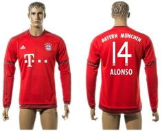 Thailand 2015-2016 Bayern Munich #14 ALONSO Home Red Long Sleeve Soccer Jersey