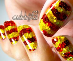 Insane red and gold glitter placement! | See more nail designs at http://www.nailsss.com/...