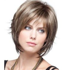 Suggestions regarding excellent looking women's hair. Your hair is without a doubt precisely what can define you as a man or woman. To numerous people it is vital to have a good hair style. Hairstyle U Cut. Hair and beauty. Short Curly Wigs, Short Hair With Bangs, Short Hair With Layers, Hair Bangs, Thick Hair, Women Short Hair, Short Side Bangs, Short Bob Hairstyles, Wig Hairstyles