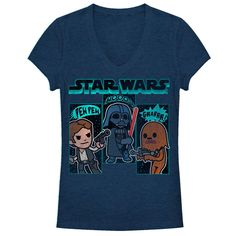 Sound Effects - Treat your eyes and ears to the Star Wars Cartoon Sounds Heather Navy Blue Racerback Tank Top. Cartoon versions of Han Solo, Darth Vader, and Chewbacca all show off the famous sounds of Star Wars on this soft and breathable navy blue tank top.