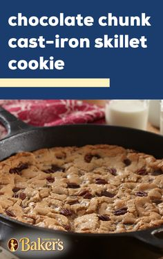 Cast-Iron Skillet Chocolate Chip Cookie Skillet cookies make a great shareable dessert idea for parties. Dont believe us check out this large chocolate chip and pecan cookie for yourself! Cast Iron Skillet Cookie, Skillet Chocolate Chip Cookie, Iron Skillet Recipes, Cast Iron Recipes, Chocolate Chip Cookies, Skillet Cooking, Skillet Meals, Cookie Recipes, Dessert Recipes