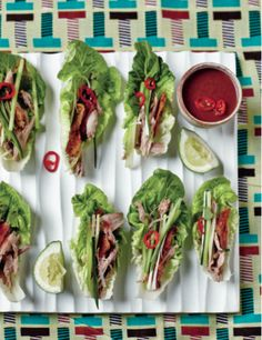 Our Duck Tamarind Lettuce Wraps make such fast, easy starters or even a light supper! The sauce can be made in advance and you'll have leftovers to use in stir fries and salads − Indian Food Recipes, Gourmet Recipes, Healthy Recipes, Ethnic Recipes, Paella, Summer Recipes, Great Recipes, Recipe Ideas, Kentucky