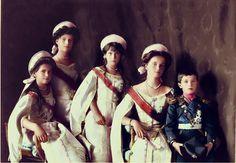 Olga, Tatiana, Marie, Anastasia and Alexis Romanov