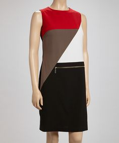 Loving this Red & Taupe Zipper Color Block Dress on #zulily! #zulilyfinds. Love Your Look Dress Boutique item. Love the bold breaks and lines.