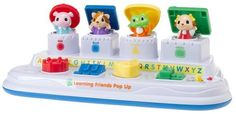 LeapFrog Learning Friends Popup by LeapFrog. $99.99. From the Manufacturer                Surprise and delight baby with pop up animals that introduces ABCs, shapes, colors, instruments and nursery rhymes! Baby discovers cause and effect as each press, toggle, twist or slide reveals a new learning friend. What it Teaches: * Develops motor skills in 3 play modes: * Colors  * Shapes  * The alphabet  * Music                                    Product Description                Intr...