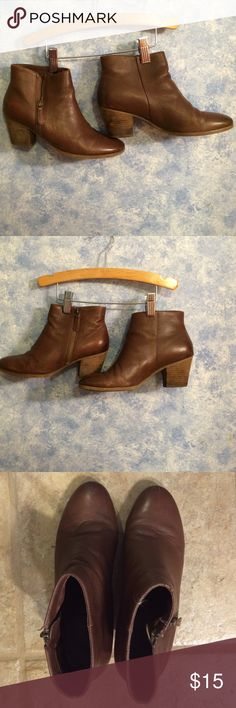 Brown leather Crown Vintage bootie 8.5M Brown leather bootie with heel - 8.5M - Good condition but worn. crown vintage Shoes Ankle Boots & Booties
