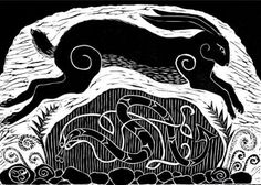 """dancing-at-the-funeralparty: """"Hare leaping over Celtic standing Stone by Anne Hutchings (1943). Anne has lived and worked in London all of her life. Linocut prints has been her preferred medium for the past decade. Her work is based on Celtic and..."""