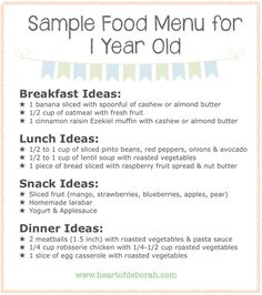Sample menu for the one to three year old and four to five year sample menu for one year old forumfinder Choice Image