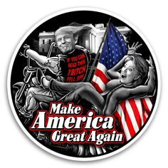 """Show your support with this funny biker sticker - Donald Trump riding a motorcycle with Hilary Clinton falling off the back. Trumps shirt reads """"If you can read this the bitch fell off"""". Make America great again graphic on the front chest. Leather Motorcycle Boots, Motorcycle Outfit, Motorcycle Quotes, Trump Clinton, Armor Shirt, Biker Shirts, Biker Gear, Trump Shirts, Boots For Sale"""