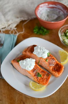 Moroccan Salmon with Cucumber Raita - A Teaspoon of Happiness