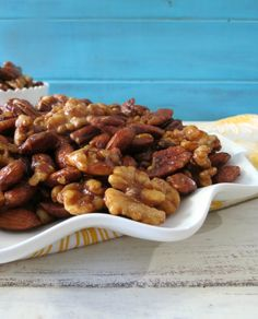 Sweet and Savory Mixed Nuts - A mix of nuts that are sweet from natural maple syrup and has a nice savory bite from spices. Makes for a perfect snack!