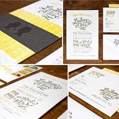 Yellow & Gray Typography wedding invitations