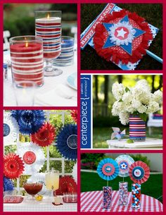 Love how we can use repurposed items for the candle centerpiece and tin can vase!
