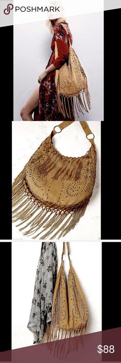 Free People  camel lightweight faux suede Hobo Bag Free People / Muche et Muchette camel lightweight faux suede Fringed Hobo Bag Slouchy hobo bag with allover laser-cut detailing fringe accents.  Single snap clasp closure. Inside has one zip         New Without Tags  *Please Note: this bag is delicate in nature and not super study, I would not recommend to be used for everyday, this is more of a occasional bag to be used as an accent  *the fringe on this bag is rayon chain and is also of a…