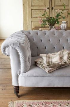 tufted couch gray joannahenderson - Luscious tufted furniture inspiration | myLusciousLife.com