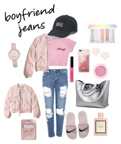 """""""Boyfriend savage"""" by eliyanakubelis on Polyvore featuring Topshop, Hollister Co., NIKE, Bobbi Brown Cosmetics, SO, Sephora Collection, Ted Baker, Nine West and Gucci"""