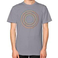 Vinyl music metro record map labyrinth Unisex T-Shirt (on man)
