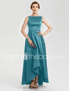 619208ea651   129.99  A-Line Boat Neck Asymmetrical Satin High Low Prom   Formal  Evening Dress with Pleats by TS Couture®