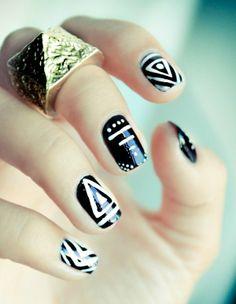 Black & White Tribal Nails