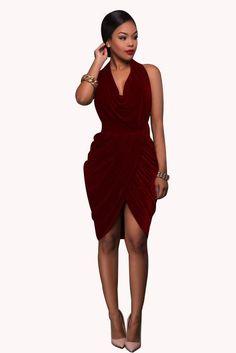 4026793251 Deep V-neck Halter Backless Irregular Knee-Length Dress Asymmetrical Dress