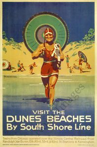 Visit Dunes Beaches Vintage South Shore Line Poster Repro 24x36 | eBay