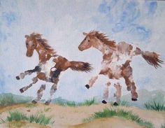 Horse handprints for kids.