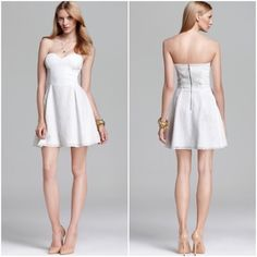 DV by Dolce Vita White Eyelet Lace Dress 🎉HP🎉NWT DV by Dolce Vita white eyelet lace strapless dress is this summer's must-have! The dresses fit-and-flare silhouette detailed in eyelets and this feminine frock owns the trend!   *Sweetheart neckline, A-line skirt, exposed back zipper, non-slip silicone trim around bust, elastic shirring on back, fully lines, exposed zipper w/hook & eye closure on back. Machine wash *Bundle Discounts, Smoke-Free, No Trades DV by Dolce Vita Dresses Prom