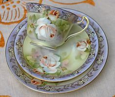 Antique Dixonian Cup, Saucer and Dessert Plate. Hand Painted Porcelain Tea Trio. Light blue and green with floral design, gold gilt. Made in 1910-1917. Early 20th Century Fine China Teacup Coffee Cup.