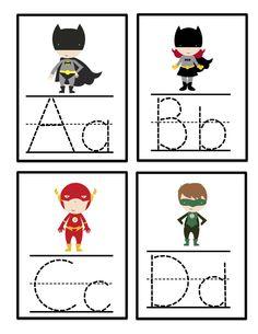 tracing cards alphabet | Preschool Printables: Super Hero Alphabet Tracing Cards