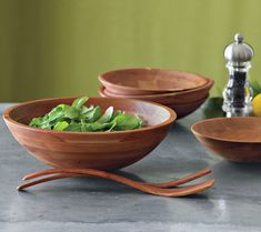 These Cherry Wood Salad Bowls are handmade individually for Williams Sonoma by skilled woodworkers in Wisconsin. You end up with laminated s...