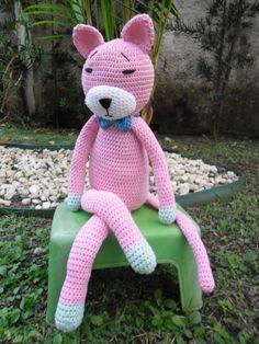 Amineko rosa em Crochê