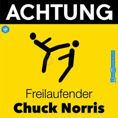 Chuck Norris Witze - Achtung Schild - Freilaufender Chuck Norris - Roundhouse Kick