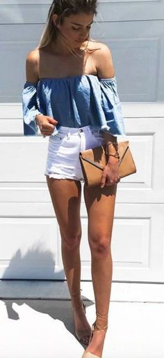 Unbelievable Summer Style // Off-shoulder chambray top with white cutoff shorts. The post Summer Style // Off-shoulder chambray top with white cutoff shorts…. appeared first on Haircuts and Hair . Mode Outfits, Short Outfits, Casual Outfits, Fashion Outfits, Fashion Trends, Casual Shorts, Jeans Fashion, Dinner Outfits, Travel Outfits