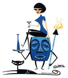 Tiki by Shag ~ Mid Century Modern Art  black cat and tiki torches
