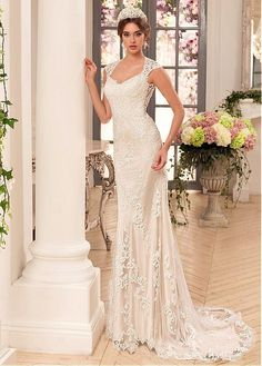 Stunning Tulle & Stretch Satin V-Neck Sheath Wedding Dresses With Lace Appliques