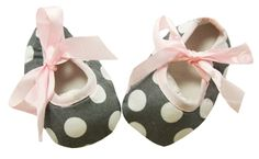 Light Pink and Gray with White Polka Dot Print Crib Shoes
