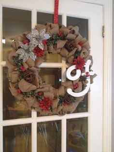 DIY Xmas burlap wreath I made for my sister!