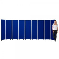 Mobile Folding Room Divider, 9 panel, 1800mm high, Nyloop Fabric