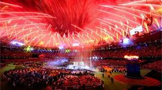 Fireworks light up the Stadium during the Closing Ceremonyof the London 2012 Paralympic Games.