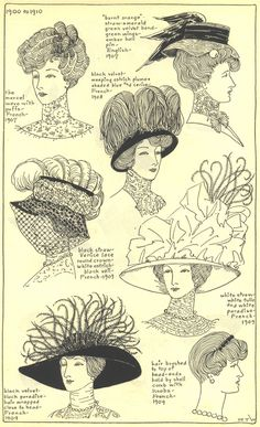 """petitdictionnairelamode: """" 1900 - 1910  The Mode in Hats and Headdress: A Historical Survey with 198 Plates  By R. Turner Wilcox  """""""
