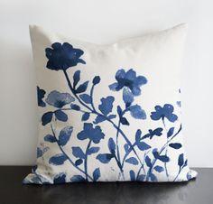 "Indigo Flowers original design in indigo blue colour - linen/cotton pillow Cover with invisible zipper. Available 16""sq, 18""sq, 20""sq"